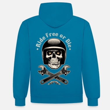 Bikes And Cars Collection Ride free or die vintage - Unisex Contrast Hoodie