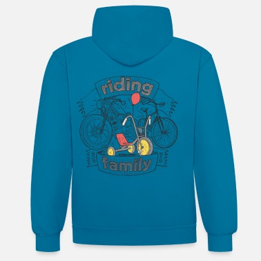 Bikes And Cars Collection riding family - Kontrast-hettegenser