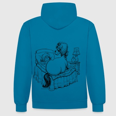 PonyBed Thelwell Cartoon - Contrast Colour Hoodie