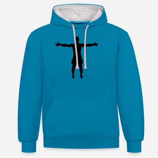 Sporty Hoodies & Sweatshirts - athlete - Unisex Contrast Hoodie peacock blue/heather grey