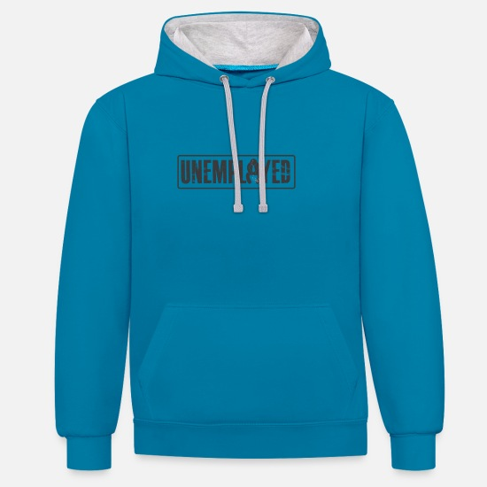 Unemployed Hoodies & Sweatshirts - Unemployed Tshirt - Unisex Contrast Hoodie peacock blue/heather grey