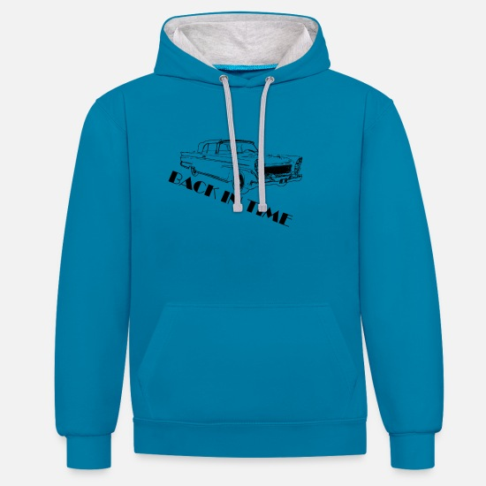 Birthday Hoodies & Sweatshirts - Back in time black - Unisex Contrast Hoodie peacock blue/heather grey