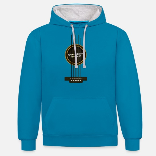 Guitar Hoodies & Sweatshirts - Guitar guitarist guitar teacher gift - Unisex Contrast Hoodie peacock blue/heather grey