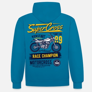 Bikes And Cars Collection Super Motocross - Sweat à capuche contrasté unisexe