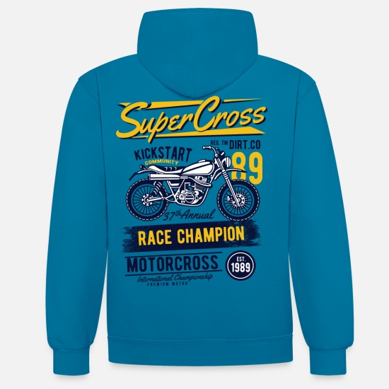 Motorcycle Hoodies & Sweatshirts - Super Motocross - Unisex Contrast Hoodie peacock blue/heather grey