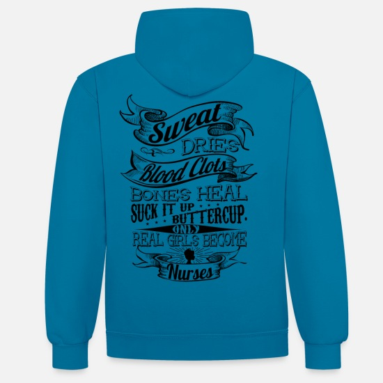 Bestsellers Q4 2018 Hoodies & Sweatshirts - real_girls_become_nurse2 - Unisex Contrast Hoodie peacock blue/heather grey
