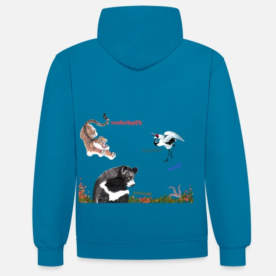 Qigong Hoodies & Sweatshirts - LoPi collection four animals with text - Unisex Contrast Hoodie peacock blue/heather grey