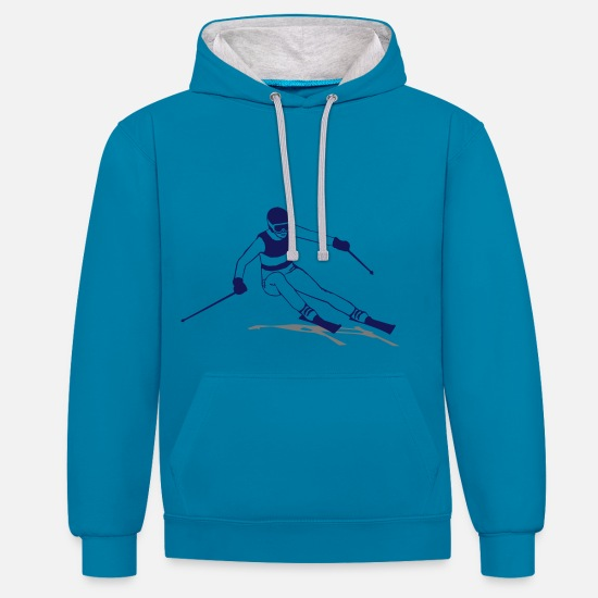 Party Hoodies & Sweatshirts - ski - alpine - apres - abfahrt - Unisex Contrast Hoodie peacock blue/heather grey