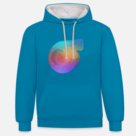 Motor Hoodies & Sweatshirts - Turbo gradient triangles - Unisex Contrast Hoodie peacock blue/heather grey