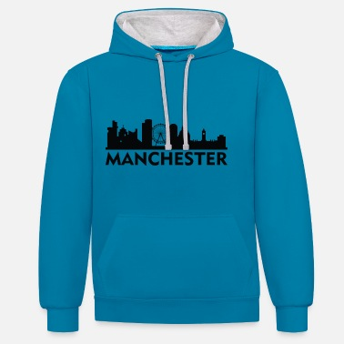 Manchester Manchester England Capital Skyline UK - Unisex Contrast Hoodie