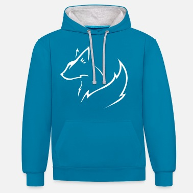 Animal white fox - Unisex Contrast Hoodie