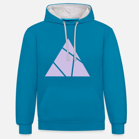Symbol  Hoodies & Sweatshirts - Triangle grid - Unisex Contrast Hoodie peacock blue/heather grey