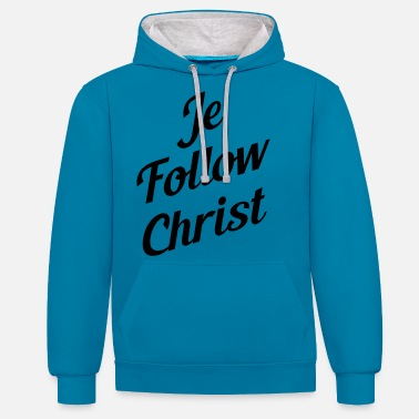 Christ je follow christ - Sweat à capuche contrasté unisexe