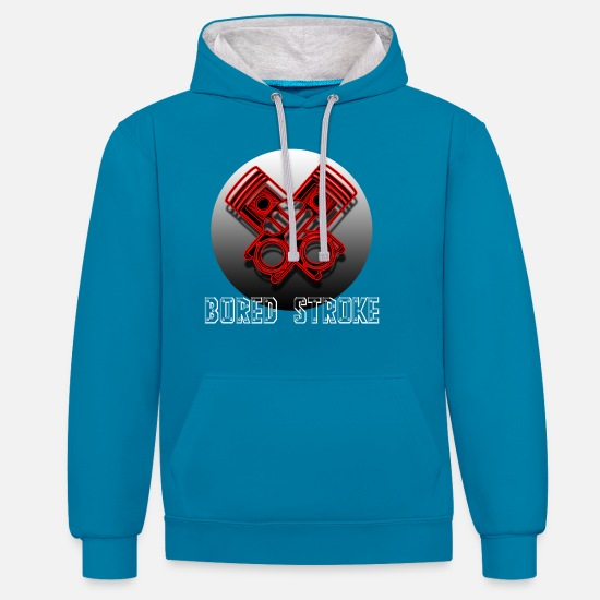 Motorcycle Hoodies & Sweatshirts - motorcycle - Unisex Contrast Hoodie peacock blue/heather grey