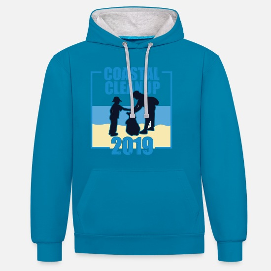 Eco Hoodies & Sweatshirts - Coastal Cleanup 2019 Plastic Pollution - Unisex Contrast Hoodie peacock blue/heather grey