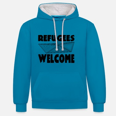 Refugees Welcome REFUGEES WELCOME! - Unisex Hoodie zweifarbig