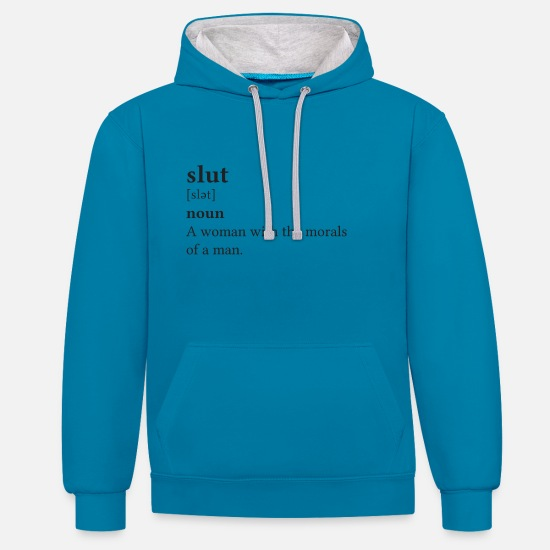 Quotes Hoodies & Sweatshirts - Quotes Slut White - Unisex Contrast Hoodie peacock blue/heather grey