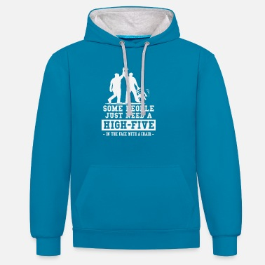 People Some People just need a High Five Face Chair - Unisex Contrast Hoodie