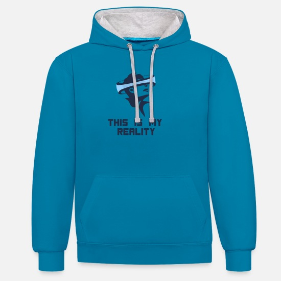 Gift Idea Hoodies & Sweatshirts - Virtual Reality - Gaming PC console gambler game - Unisex Contrast Hoodie peacock blue/heather grey