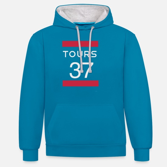 Montpellier Hoodies & Sweatshirts - Tours 37 Tours - Unisex Contrast Hoodie peacock blue/heather grey