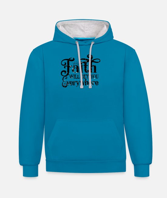 Think Hoodies & Sweatshirts - Christian Faith Evangelical Catholic Gift - Unisex Contrast Hoodie peacock blue/heather grey