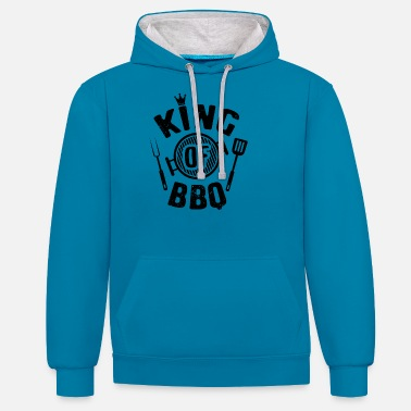 Roi Du Barbecue Barbecue Barbecue Griller Barbecue Grill Barbecue saison - Sweat à capuche contrasté unisexe