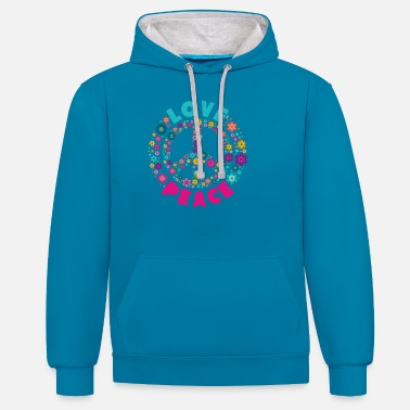 Hippie Love Peace Hippi Shirt Hippie Flower Power - Unisex Hoodie zweifarbig