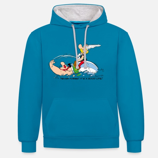 Book Hoodies & Sweatshirts - Asterix & Obelix - Never Forget It's A Good Life! - Unisex Contrast Hoodie peacock blue/heather grey