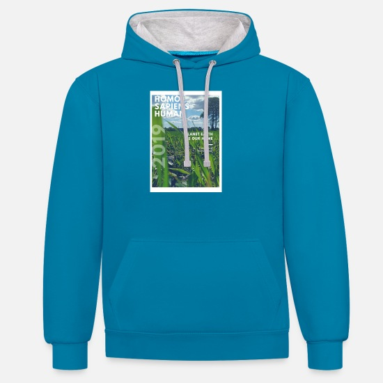 Earth Hoodies & Sweatshirts - human design Homo Sapiens 2019 - Unisex Contrast Hoodie peacock blue/heather grey