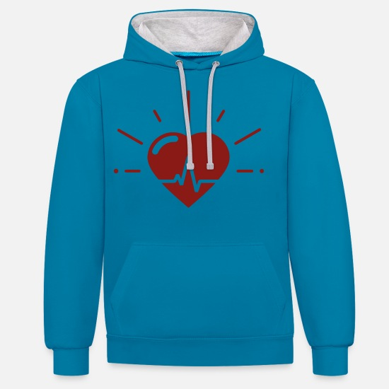 Love Hoodies & Sweatshirts - Heartbeat for heartbeat - Unisex Contrast Hoodie peacock blue/heather grey