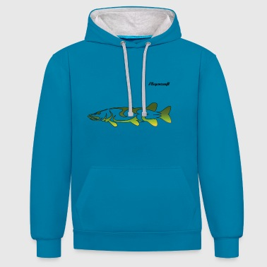 Fly fishing pike - Contrast Colour Hoodie