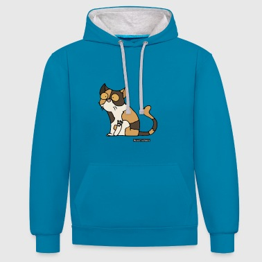 Cat - exotic shorthair - Contrast Colour Hoodie