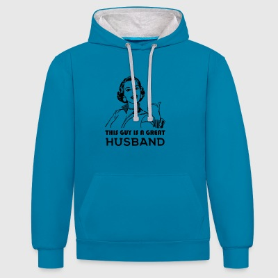 Great Husband. Family motivational - Contrast Colour Hoodie