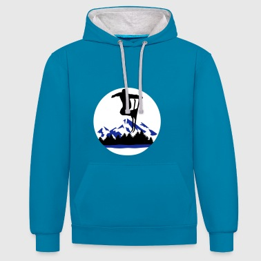 Skiing, Skier and mountains - Contrast Colour Hoodie
