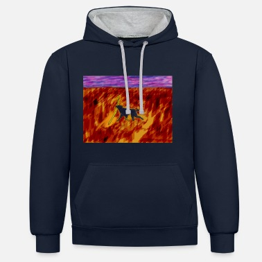 Stick Dog With Stick - Contrast Colour Hoodie
