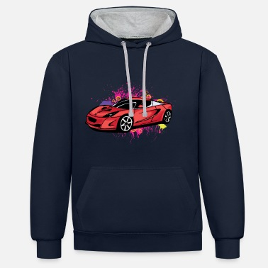 Sportscar Cool red sportscar - Contrast Colour Hoodie