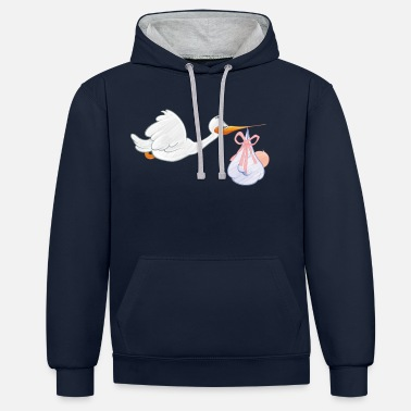 Toddler Stork with toddler - Contrast Colour Hoodie