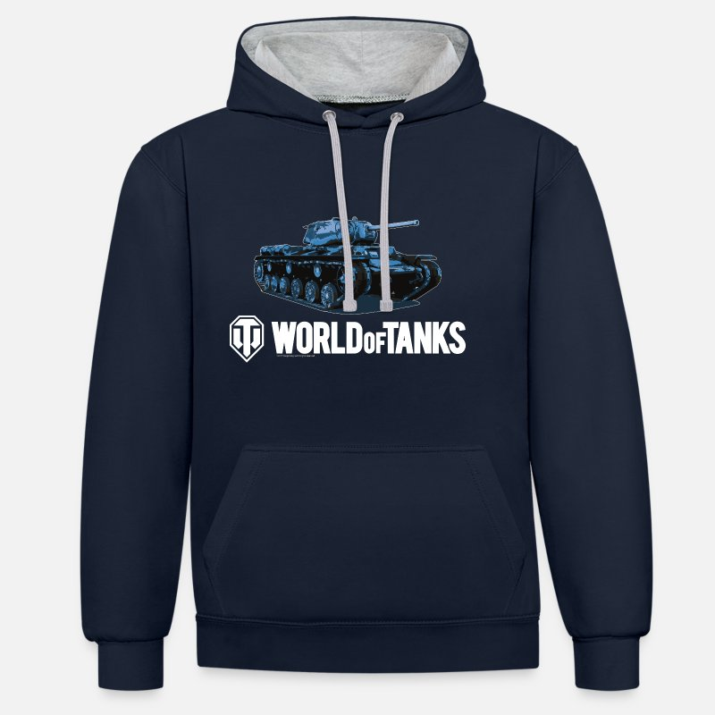 World Of Tanks Bluzy - World of Tanks Blue Tank Men Hoodie - Kontrastowa bluza z kapturem unisex granatowy/ szary melanż