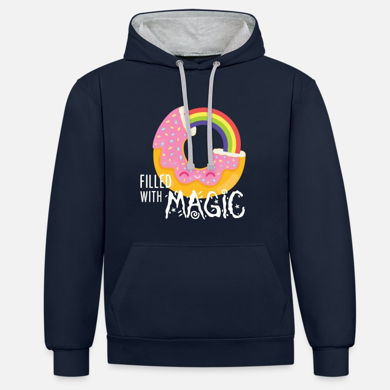 Cool Hoodies & Sweatshirts - Donut - filled with magic - Unisex Contrast Hoodie navy/heather grey