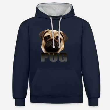Pug - Contrast Colour Hoodie