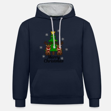 Christmas Moose with tree Merry Christmas - Contrast Colour Hoodie