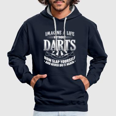 DART IMAGINE LIFE WITHOUT DARTS - Contrast Colour Hoodie
