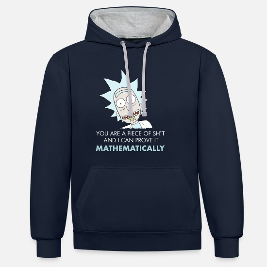 Funny Hoodies & Sweatshirts - Rick And Morty Mathematical Proof Quote - Unisex Contrast Hoodie navy/heather grey