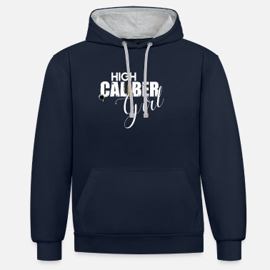 Caliber High Caliber Girl Lady Gun Lover - Contrast Colour Hoodie