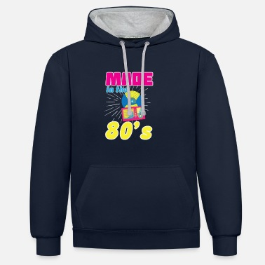 80-s MAD IN THE 80's 80's 80's Eighties 80s Retro - Contrast Colour Hoodie
