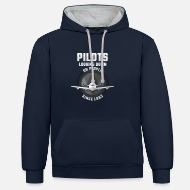 Down Pilot Looking Down At People Since 1983 Gift - Contrast Colour Hoodie