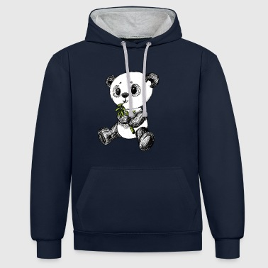 Panda bear colored scribblesirii - Contrast Colour Hoodie