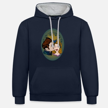 Rockabilly Rockabilly-Couple at Ferris Wheel - Unisex Contrast Hoodie