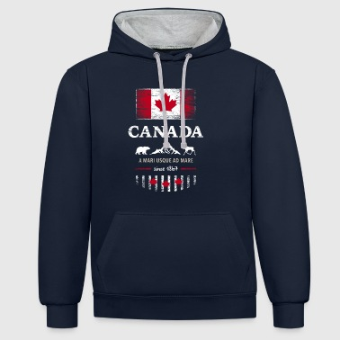 Canada Canada America maple leaf flag banner Bear - Contrast Colour Hoodie