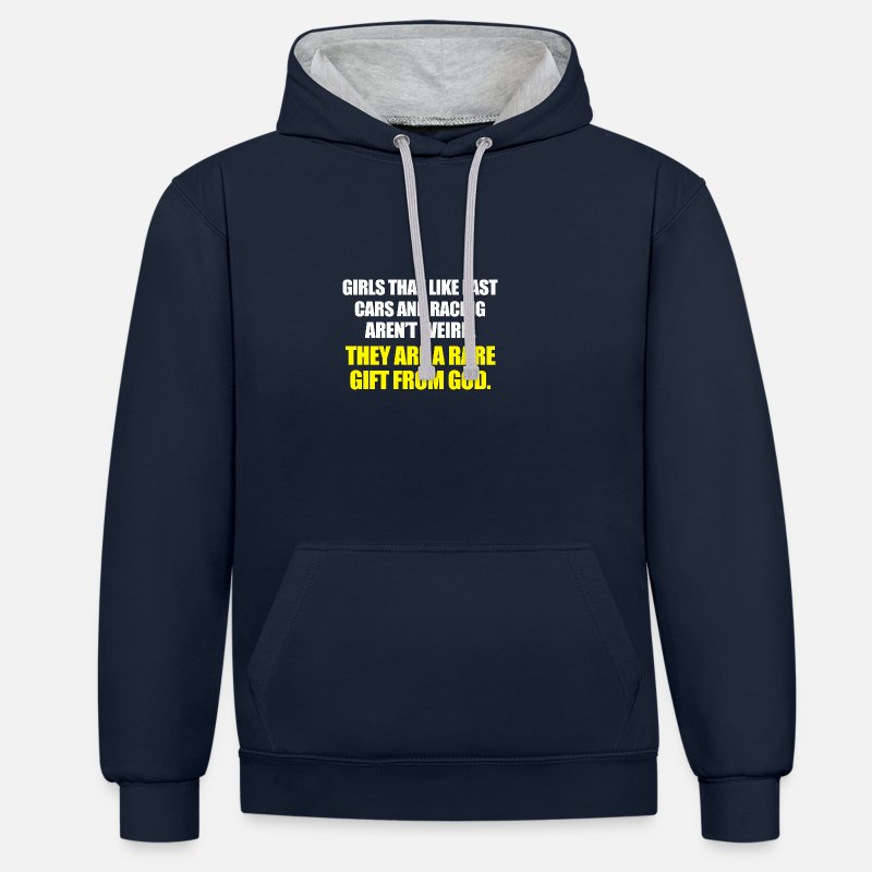 Car Hoodies & Sweatshirts - Girls that like fast - Unisex Contrast Hoodie navy/heather grey